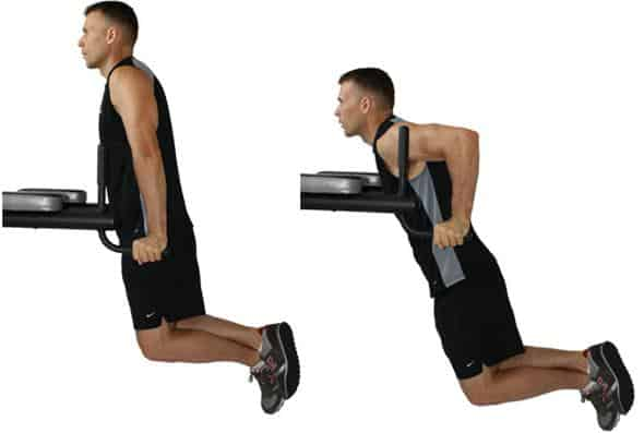Parallel-bar dips (chest workout)